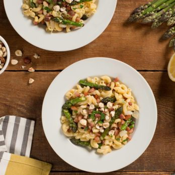 Asparagus and Pancetta Gluten-Free Pasta with Hazelnuts