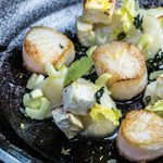 Roasted Scallops with Celery Roots & Hearts, Brown Butter & Lemon