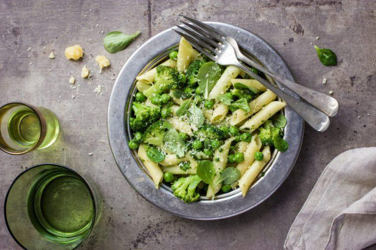Pasta Salad, pesto and peas