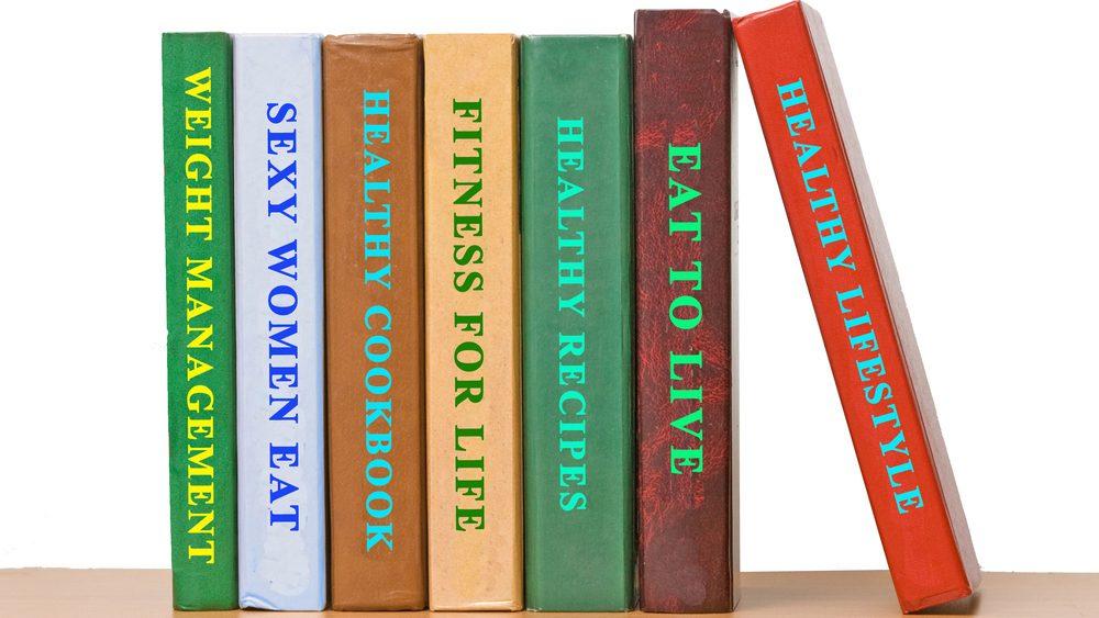 izzy's diet plan, a bookshelf filled with diet books