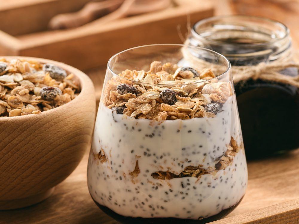 Chia cereal yogurt bowl
