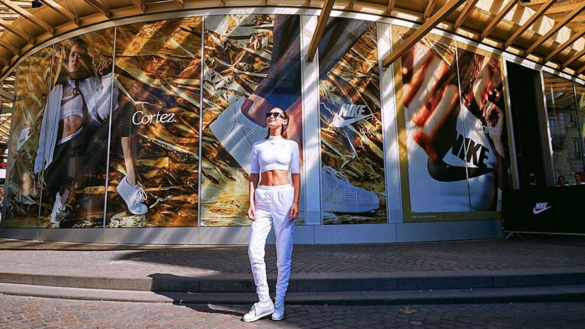 Bella Hadid Nike, the model is in Paris launching the Cortez shoe
