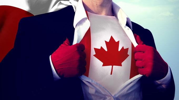Canadian Health Heroes, a super hero with a maple leaf on their chest