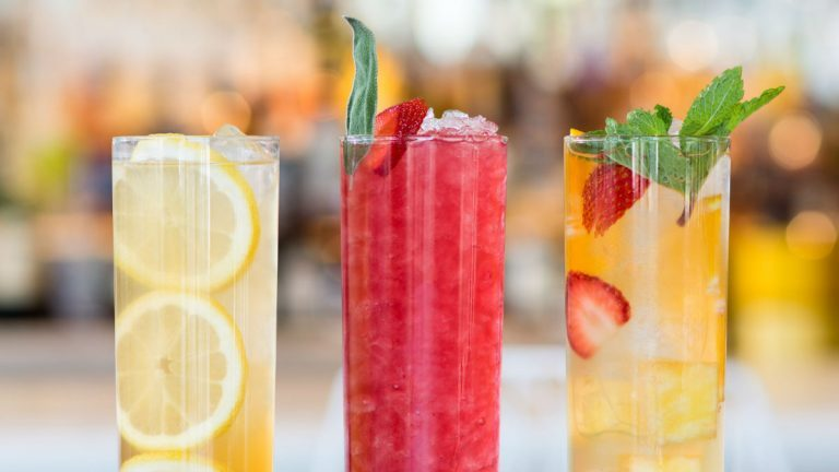Three iced tea cocktails with mocktail options for Iced tea cocktail recipes