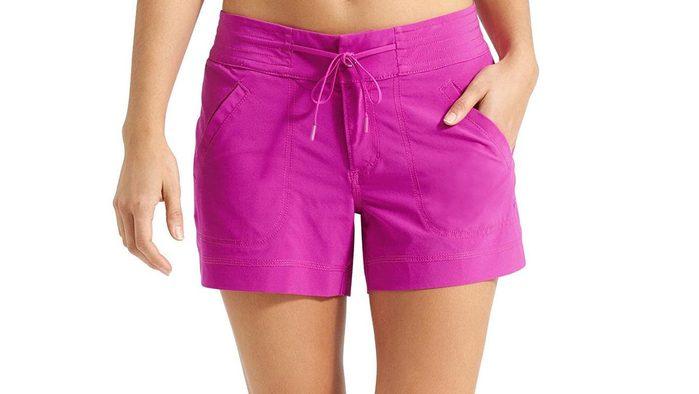 summer layering, long pink shorts