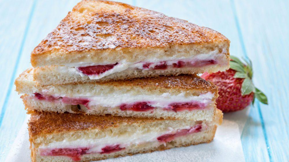 vegan breakfast, strawberry stuffed french toast