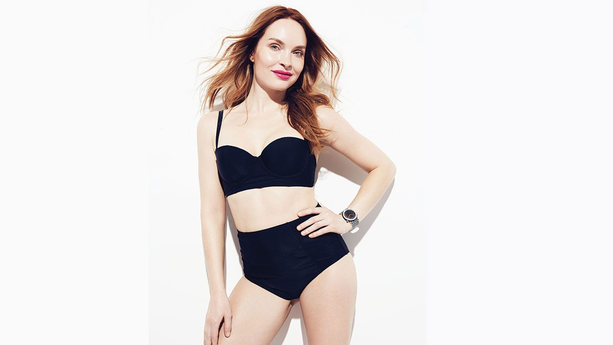 flattering black swimsuits, a high-waisted bikini with underwire bralette