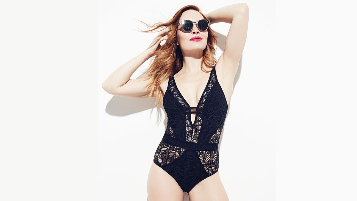 flattering black swimsuits, black lace cut-out one-piece suit
