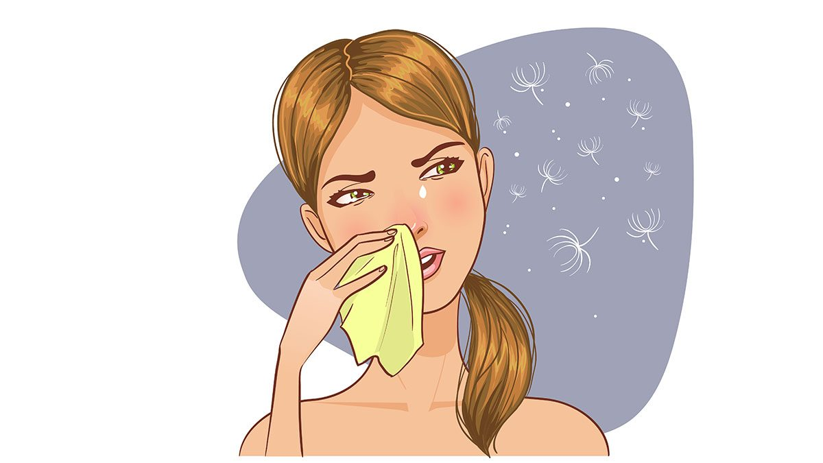 adult allergies, a sketch of a woman wiping her nose