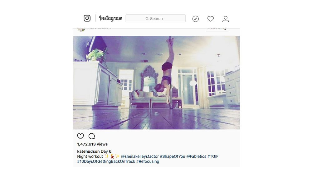 kate hudson fitness routine, kate hudson doing a pole dancing workout