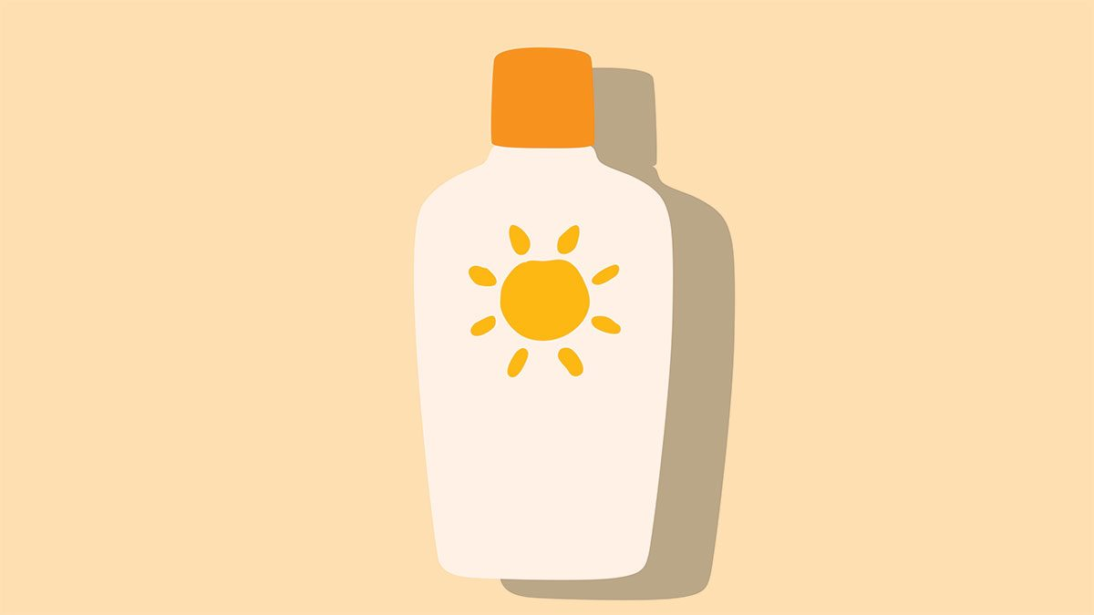 rosacea in the summer, a sketch of a sunscreen bottle