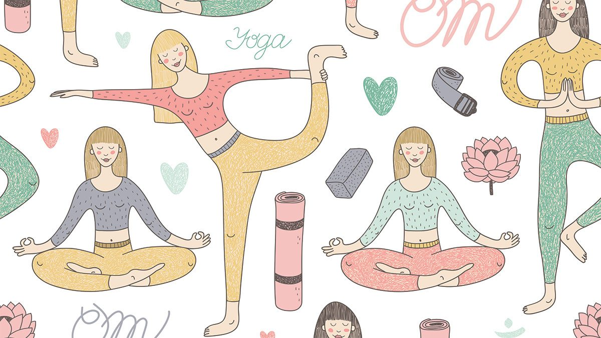 rosacea in the summer, sketch of women doing yoga with flushed cheeks
