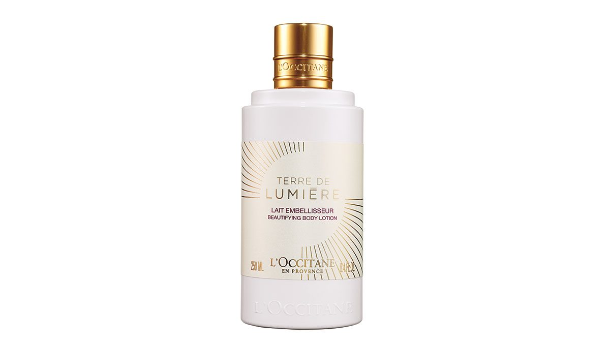 skin saver, bottle of L'occitane Lait Terre de Lumiere body lotion