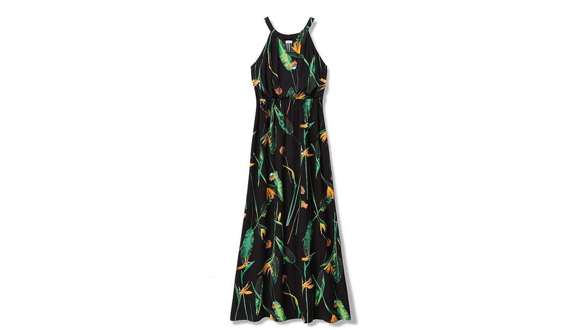 summer layering maxi dress, a long halter-style, floral-print dress.