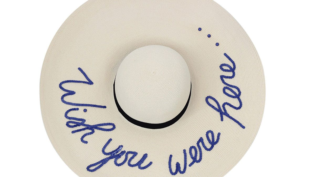 """summer layering, oversized sunhat with """"Wish you were here..."""" on the brim"""