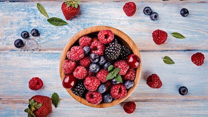 Berries, variety of berries in a bowl