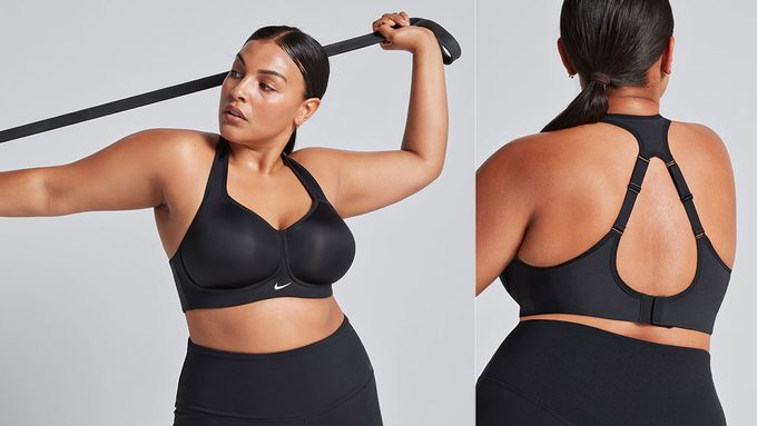 Nike Brahaus pop-up, model in high-support sports bra