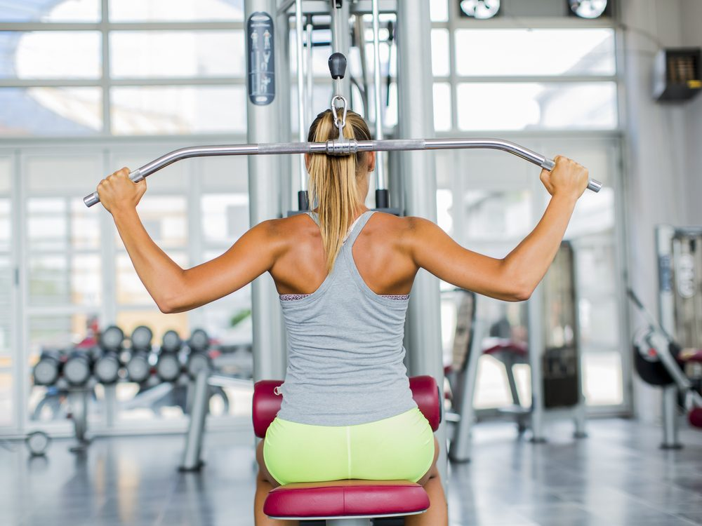 Avoid doing pull-downs behind the neck