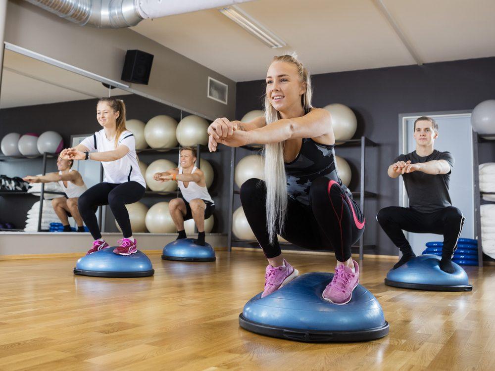 Avoid doing squats on a BOSU ball