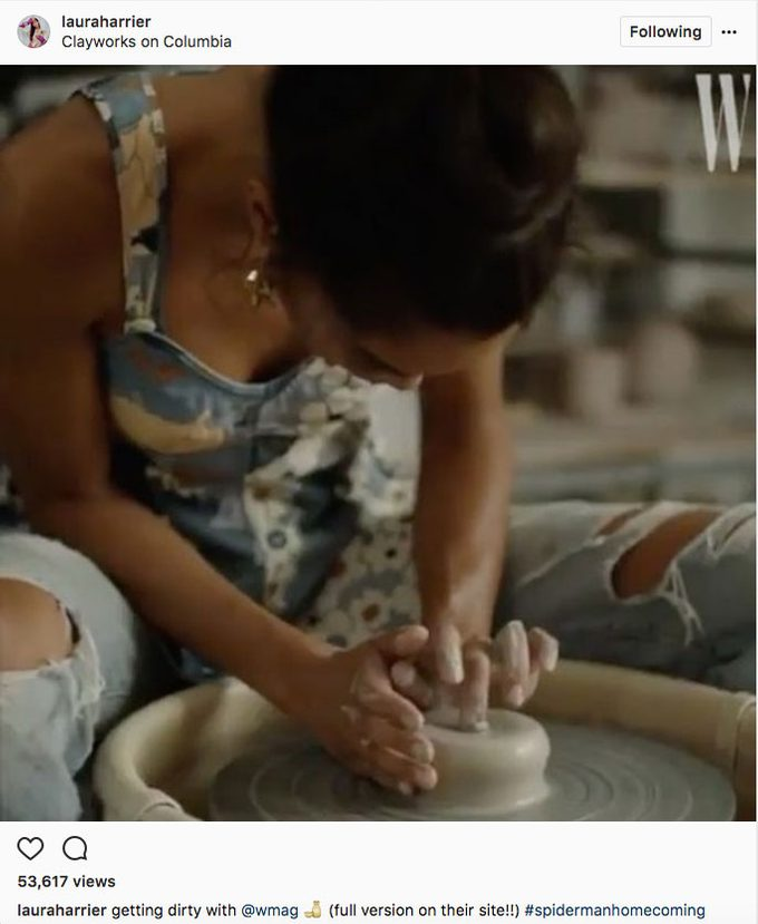 Laura Harrier Spider-man, the actress at a clay studio