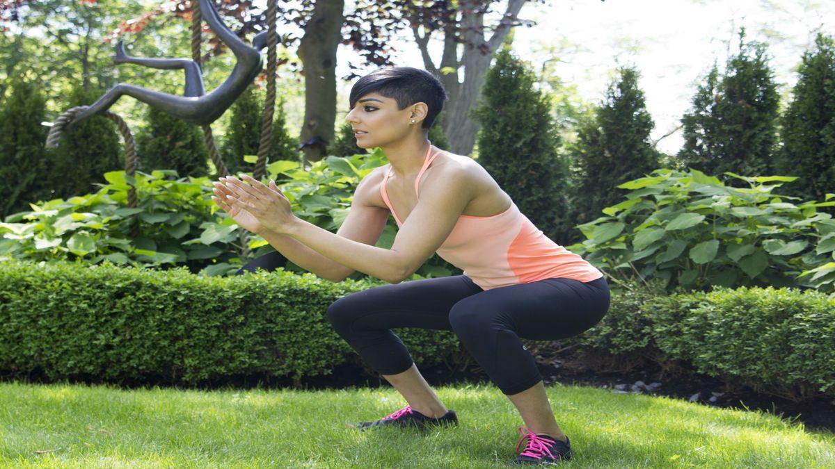 summer backyard workout squat jumps