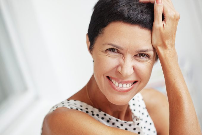 50 year old woman with a younger looking complexion