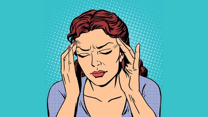 headache medication, illustration of a woman with a headache