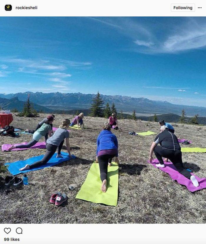 Instgram yoga, Heli yoga in Banff National Park