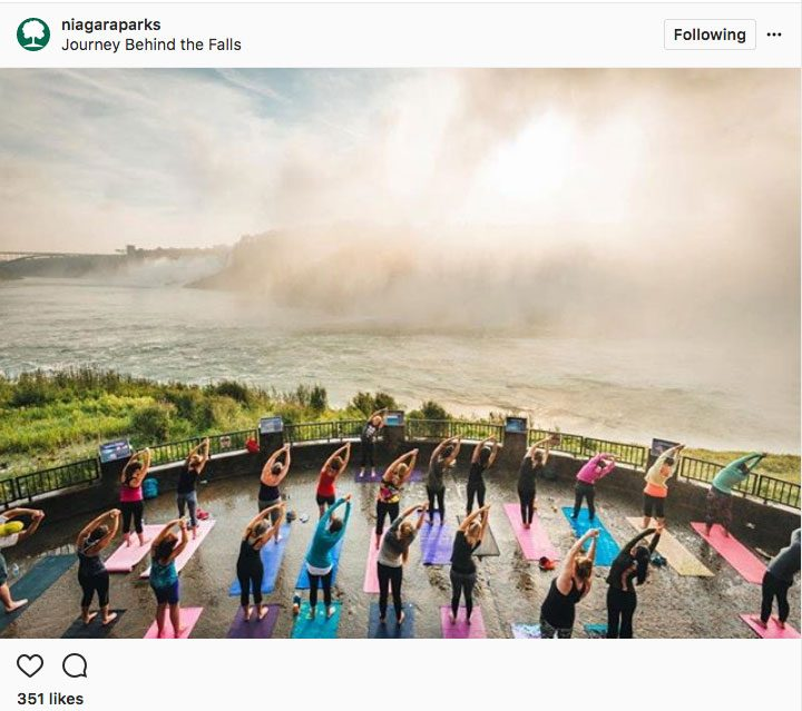 Instagram yoga in Canada, Niagara Parks, doing yoga near niagara falls