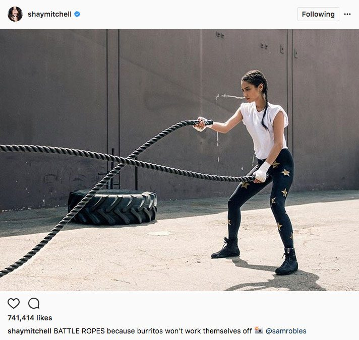 Shay Mitchell stay fit instagram, Shay Mitchell doing crossfit ropes