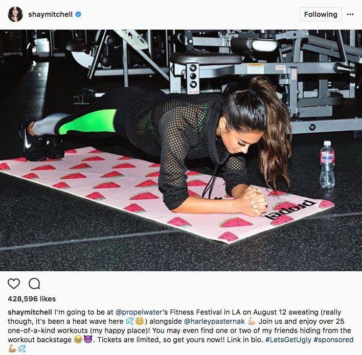 Shay Mitchell stay fit instagram, Shay Mitchell doing a plank on a yoga mat