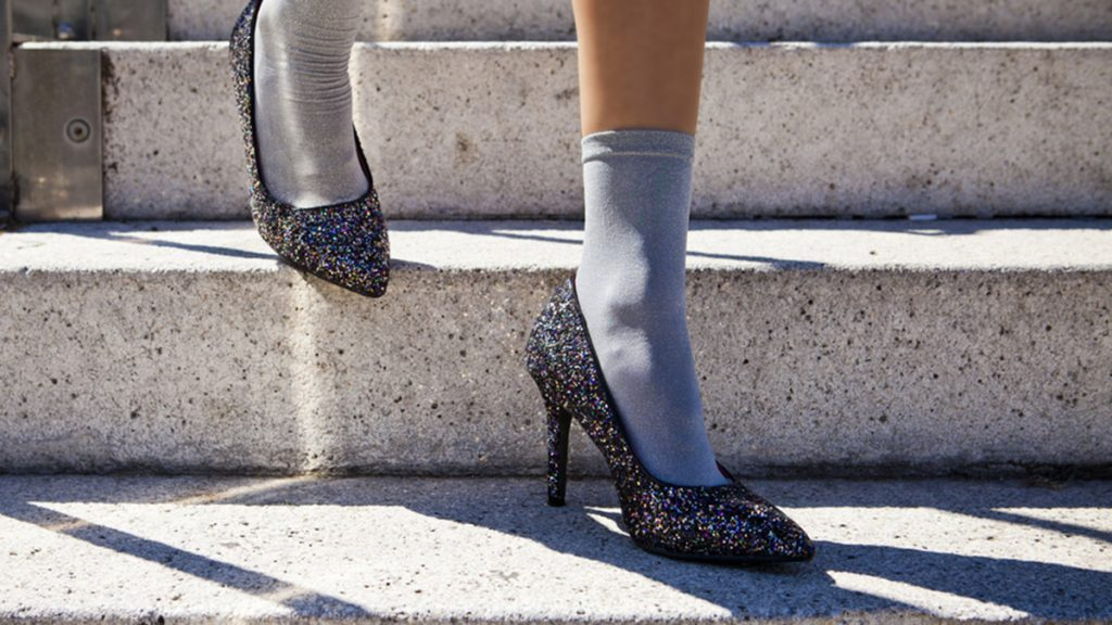 Fall wardrobe, woman wearing socks with heels
