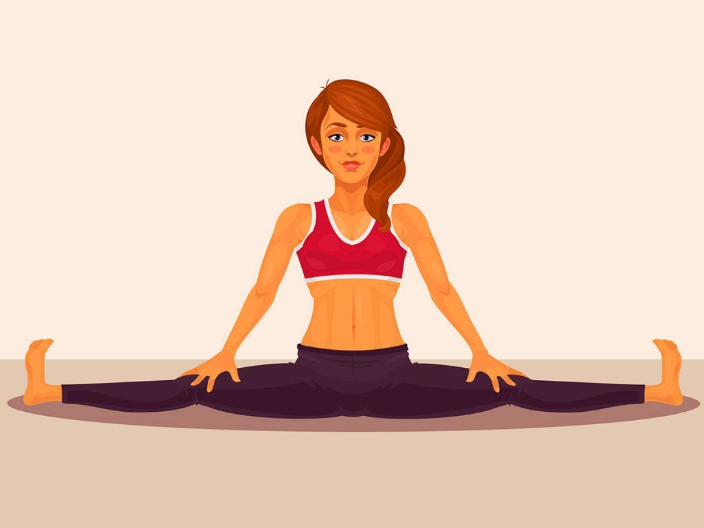Flexible, woman doing the splits