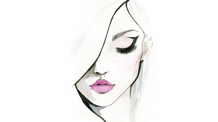 how to use eyeliner properly, a sketch of a woman with a cat-eye