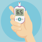 Improve diabetes, an illustration of a blood sugar monitor