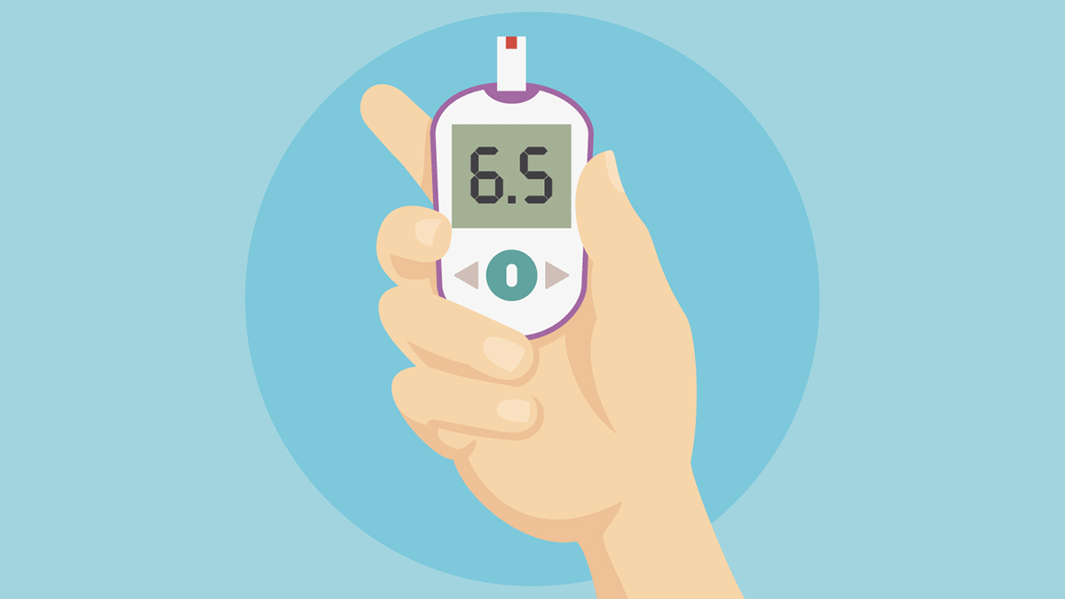 Improve diabetes, an illustration of a blood sugar monitor