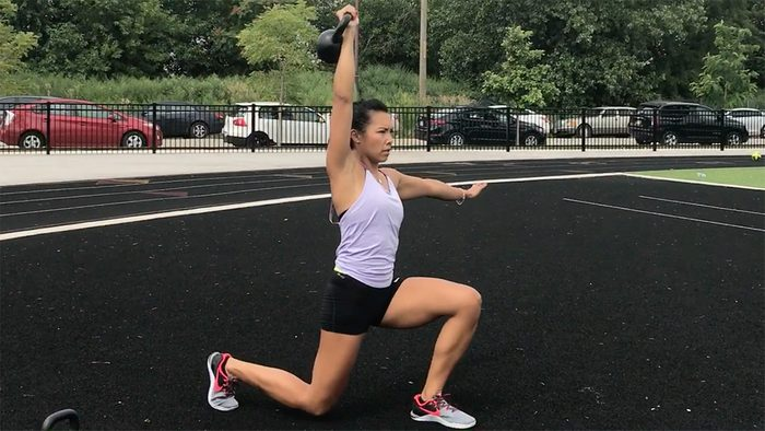 Kettlebell Moves For Abs: Overhead Walking Lunges