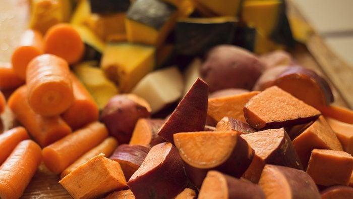 Thanksgiving food prep, pre-cut veggies