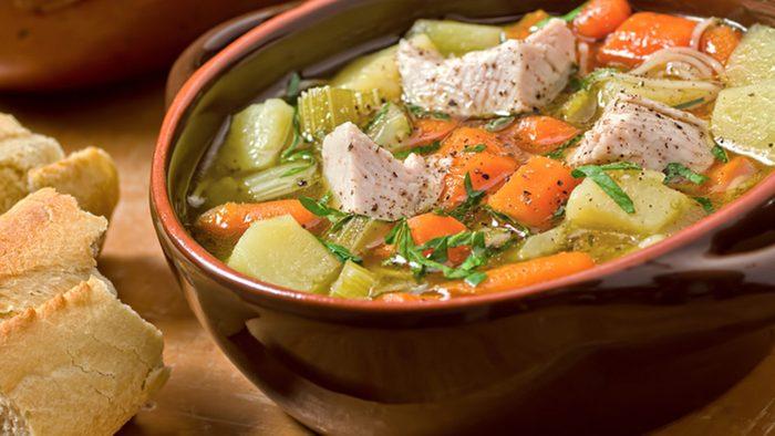 Turkey leftovers, turkey and vegetable soup