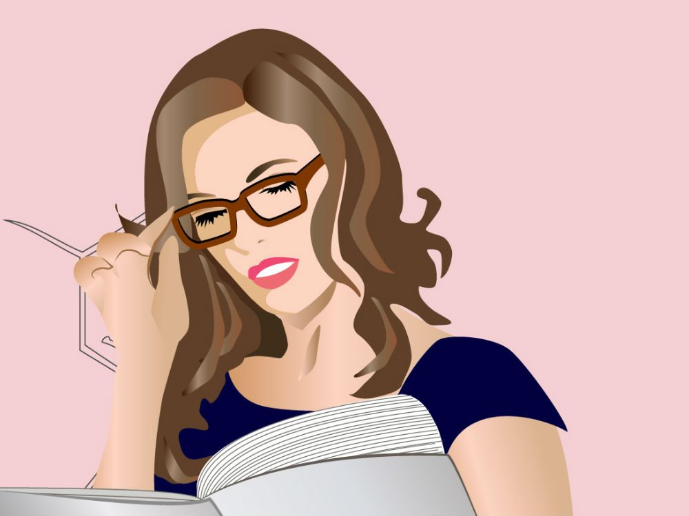 buying contact lenses online, woman squinting while reading