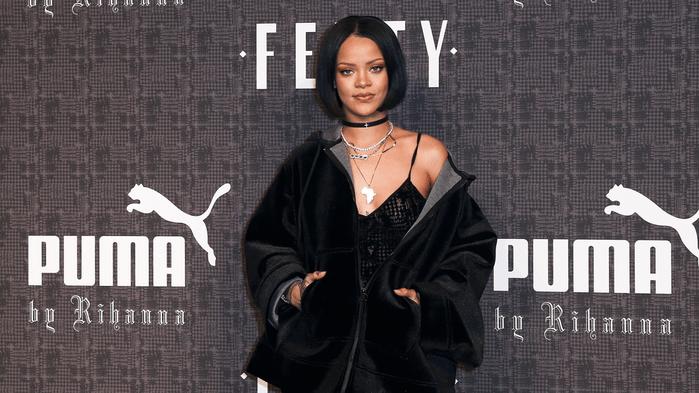 celebrities and weed, Rihanna on a Fenty Puma red carpet
