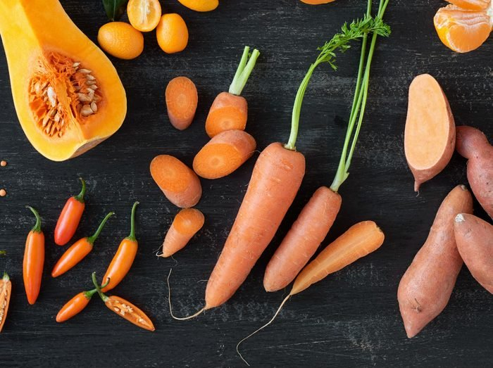 foods that fight colds, orange vegetables including carrots, sweet potato and squash