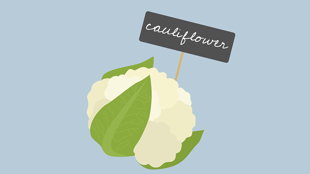 improve diabetes, eat more veggies, an illustration of cauliflower