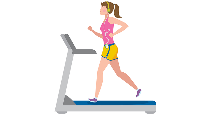 slient signs of asthma exercise trigger, illustration of a woman on a treadmill