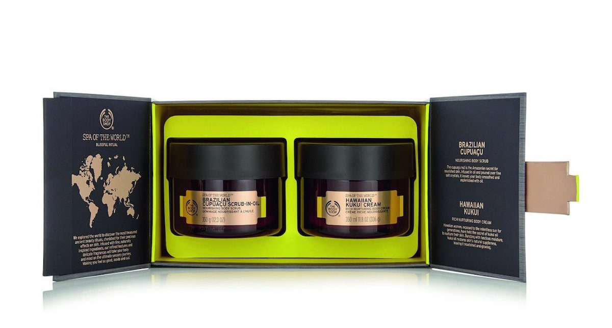 Cyber Monday Body Shop, cream gift set shown