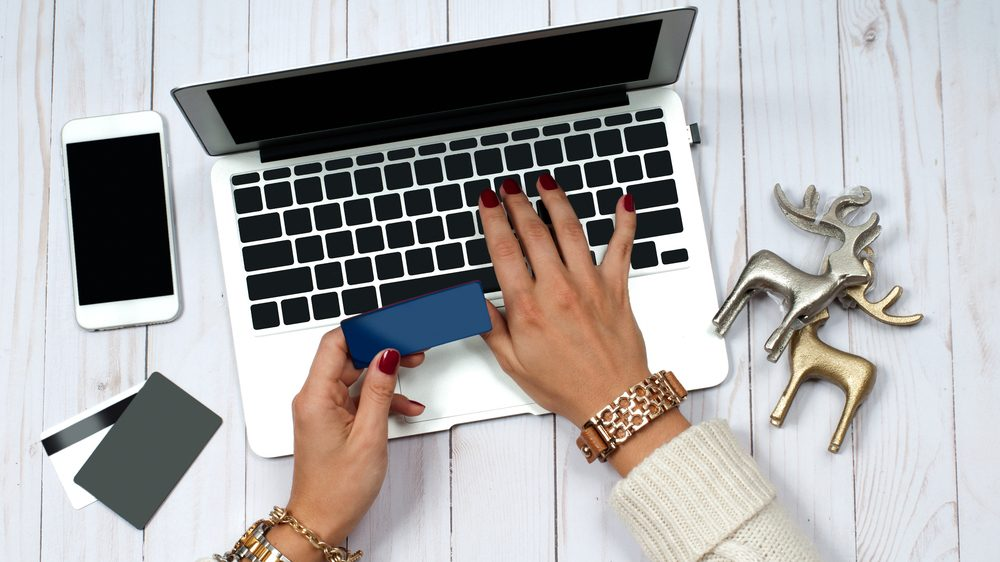 Giving Tuesday Charity Gifts, woman shopping on her laptop
