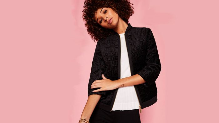 fall jackets 2017 Take Away For those who believe that a black jacket is always the answer, A) know you're not wrong and B) know that a little texture will go a long way. Here, velvet and quilting (swoon!) create a winner that promises to look amazing whether it's out at 9am or 9pm. <Product Link> Ted Baker London Bartel jacket, $445 http://www.tedbaker.com/ca/Womens/Clothing/Jackets-And-Coats/BARTEL-Quilted-velvet-bomber-jacket