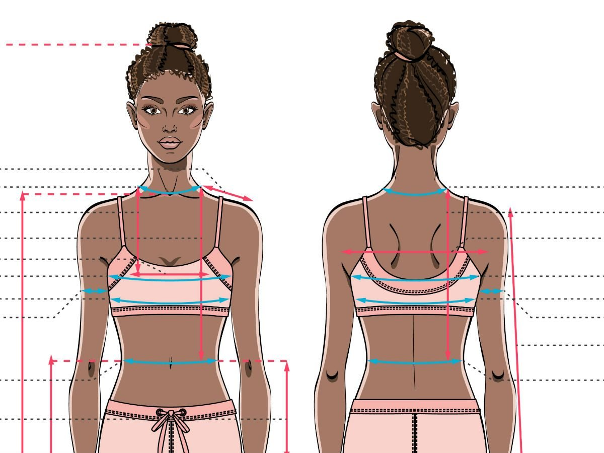 sports bra issues, an illustration showing sports bra fit issues
