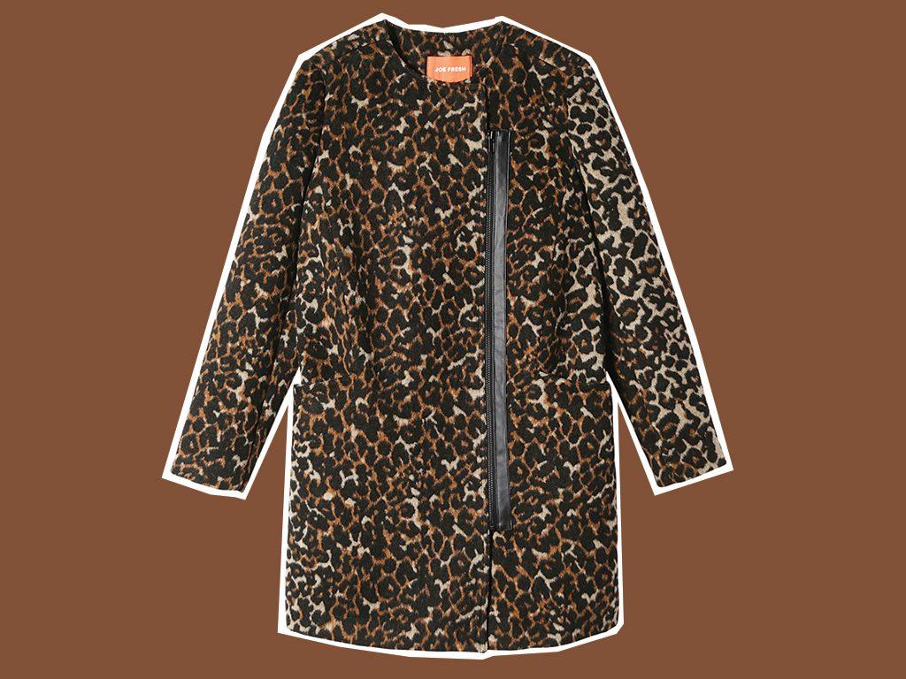 faux fur coat Joe Fresh Leopard Print Coat