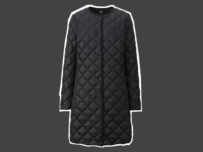 flattering long puffer coat Uniqlo quilted compact coat